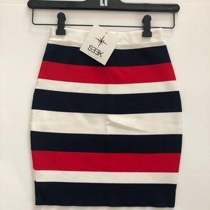Seek the Label striped body con skirt